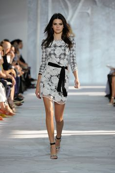 Diane von Furstenberg Spring 2015 runway - gingham dress with a netted floral overlay (via @WhoWhatWear)