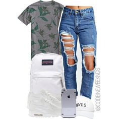 A fashion look from July 2015 featuring Boohoo jeans, NIKE sneakers and JanSport backpacks. Browse and shop related looks.