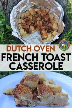 Dutch Oven French Toast Casserole Camping Breakfast Recipe – Famous Last Words Dutch Oven Breakfast, Dutch Oven Pizza, Dutch Oven Camping, Breakfast Recipes, Dutch Oven Recipes Dessert, Breakfast Ideas, Easy Camping Breakfast, Breakfast Sandwiches, Breakfast Burritos