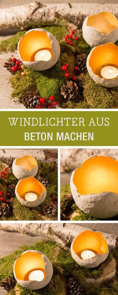 DIY Idee für Weihnachten: Windlichter aus Beton bauen, Beton DIY Ideen / concrete diy: crafting candle holders for christmas via DaWanda.com