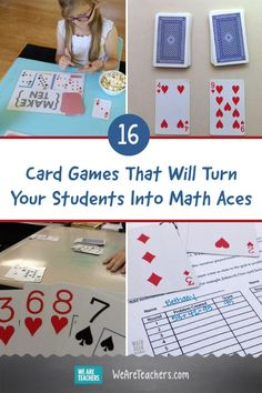 16 Card Games That Will Turn Your Students Into Math Aces. Fight back against the notion that math is boring with fun math card games for kids that teach counting, arithmetic, and more. We're stacking the deck in your favor, math teachers. Math Card Games, Card Games For Kids, Fun Math Games, Math Games Grade 1, Cool Math For Kids, Teacher Games, Dice Games, Teacher Tips, Math Teacher