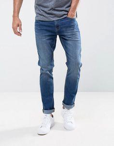 LDN DNM Slim Fit Jeans in Midwash Indigo - Blue