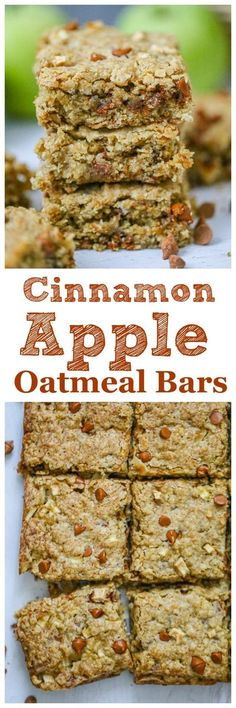 Cinnamon Apple Oatmeal Bars - Indulge in these super moist Cinnamon Apple Oatmeal Bars for a sweet morning breakfast treat or delicious afternoon snack. Graciously packed with heart healthy oats, small chunks of apples and cinnamon chips in oatmeal in bar form, these are perfect for on-the-go breakfast and snacking. #apple #snack #healthybars #applecinnamon #applecinnamonbars #oatmeal #oatmealbars Oatmeal Bars Healthy, Healthy Bars, Healthy Recipes, Healthy Sweets, Healthy Food, Brunch Recipes, Fall Recipes, Breakfast Recipes, Brunch Ideas