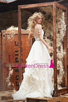 2017 Open Back Spaghetti Straps A Line Wedding Dresses Tulle With Beading