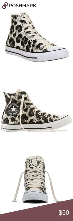 NWOB Chuck Taylor All Star Animal Print High Tops NWOB Converse Chuck Taylor All Star Animal Print High Top Sneaker. Fun cheetah print. Signature logo on the inner side. Size 7 Women's Converse Shoes Sneakers