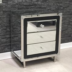 mirrored bedside table stainless steel with croc leather effect