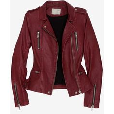 Iro Exclusive Biker Leather Jacket ($499) ❤ liked on Polyvore featuring outerwear, jackets, coats, leather jackets, tops, zip jacket, lined leather jacket, real leather jackets, red biker jacket and red zipper jacket