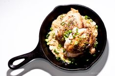 Roasted Chicken with Dijon Recipe - chicken thighs, shallots, dry white wine, chicken broth, heavy cream, smooth Dijon mustard, chopped green onions