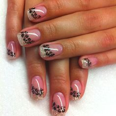 leopard spots and glitter tips