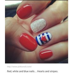 Cute 4th of july nails ❤ liked on Polyvore featuring beauty products, nail care, nail treatments and nails