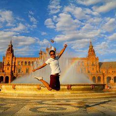 My signature jump shot - KJS @ Seville, Spain! 😎👍 Checkout more here: http://www.travelinspiration360.com/my-kjs/  #solotravel #solotraveler #backpacker #travel #traveler #globetrotter #jetsetter #instatravel #vacation #trip #travelgram #travelwriter #travelblogger #travelblog #travelinstyle #instago #photooftheday #mytravelgram #igtravel #ilovetravel #wanderlust #travelpics #travelphotography #traveltheworld #instalike #inspirational #jumpshot #jump #spain #rainbow