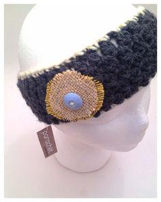 bda95698050 Gray crochet Ear Warmer - Winter Headband With Burlap Flower Winter  Headbands