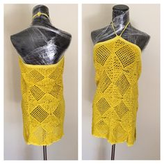 Knitted Blouse or Short Dress Size L, Sleeveless, yellow,  handmade in the U S A, item no. DeBg09 by DeEscalaArt on Etsy https://www.etsy.com/listing/481949083/knitted-blouse-or-short-dress-size-l
