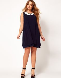 Enlarge ASOS CURVE Exclusive Swing Dress With Double Layer and Peterpan Collar
