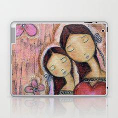 Un Solo Corazón - Mother-Daughter Love by Flor Larios Laptop & iPad Skin by Flor Larios Art - $25.00