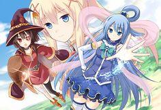 Anime - KonoSuba – God's Blessing On This Wonderful World!!  Aqua (KonoSuba) Megumin (KonoSuba) Darkness (KonoSuba) Wallpaper Source: http://www.pixiv.net/member_illust.php?mode=medium&illust_id=46547260