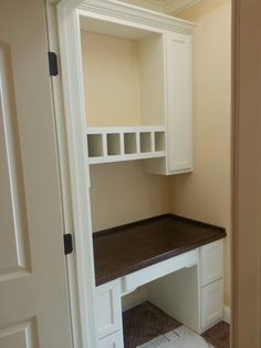 Home office painted maple cabinets