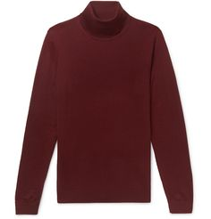 Hugo Boss Slim-fit Virgin Wool And Silk-blend Rollneck Sweater In Burgundy Burberry Men, Gucci Men, Roll Neck Sweater, Men Sweater, Hugo Boss Clothing, Beige Chinos, Red Turtleneck, Tom Ford Men, Moda Masculina