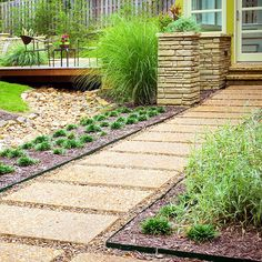Path and Walkway Landscaping Ideas - The walkway exudes modern style with large, regularly spaced pavers interspersed with crushed rock. Metal edging marks a clear definition between path and bed, and keeps the mulch and crushed stone from intermingling. Backyard Walkway, Outdoor Walkway, Stone Walkway, Walkway Ideas, Path Ideas, Rock Pathway, Stone Landscaping, Landscaping With Rocks, Front Yard Landscaping
