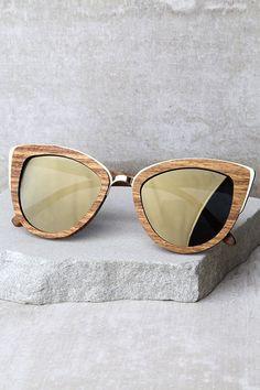 9ccbcee73dd17 Woodzee Lexi Dark Gold Mirrored Pear Wood Sunglasses