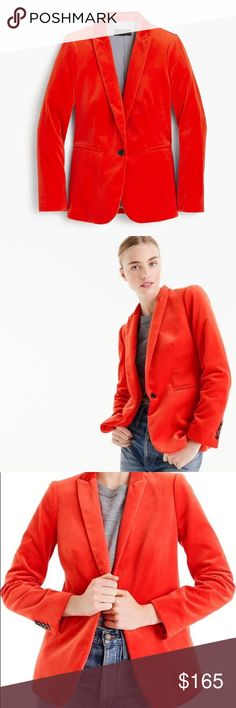"J. Crew Velvet Parke Blazer Only J. Crew can conjure up a bold, bright fiery red color like this. Gorgeous Parke Blazer in luxurious velvet is perfect to wear with your favorite t-shirt and jeans for a stroll in the city. Body length 27"", sleeve length 32"". Hits below the hip. Cotton velvet. Dry clean. J. Crew Jackets & Coats Blazers"
