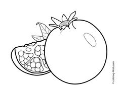 Pomegranate fruits coloring pages for kids, printable free