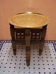 Oriental-Moroccan-Side-Table-Tea-Brass-Tray-Foldable-Arabian-Orient-Handcrafted