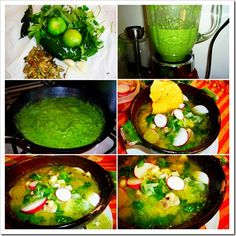 Green Pozole is a typical dish from the state of Guerrero, even though there are many versions in other states in Mexico. Real Mexican Food, Mexican Cooking, Mexican Food Recipes, Soup Recipes, Dinner Recipes, Cooking Recipes, Healthy Recipes, Ethnic Recipes, Recipies