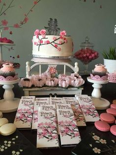 Cake and treats at a Japanese cherry blossom birthday party! See more party ideas at CatchMyParty.com!