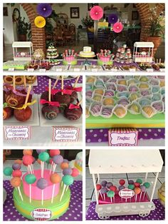 Candy Buffet. 7 colores. Polkadots #polkadots, #colours, #party, #colour party, #candy bar