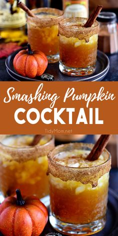 Fall spices, pumpkin ale, and equal parts spiced rum and butterscotch Schnapps makes this Smashing Pumpkin Cocktail the best thing to hit your cocktail glass this fall! Get the full recipe at via Pumpkin Recipes, Fall Recipes, Holiday Recipes, Fall Dinner Recipes, Fall Cocktails, Holiday Drinks, Vodka Cocktails, Party Drinks, Halloween Drinks