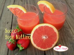 Succo Buon Mattino: a base di pompelmo,carote,fragole e un tocco di zenzero fresco per iniziare alla grande la giornata...provatelo!