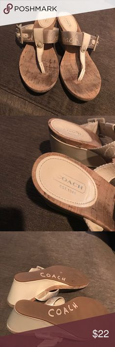 Coach Sandals Coach Bernadette T Strap wedge sandal in good condition light wear on insole and bottoms and back of heel shown in pic Coach Shoes Wedges
