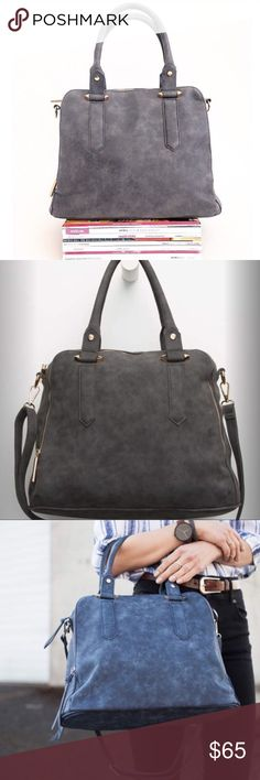 "Free People Logan Satchel From Free People Line Violet Ray Violet Ray Logan faux leather handbag in charcoal. Zip pockets on front and back. Zip main compartment with zip and organizer pockets. Exposed zipper details. Dual carrying handles with arrow details. Adjustable removable shoulder strap. Approx dimensions: 15""L x 11.5""H x 6.5""D. Imported. Free People Bags Satchels"