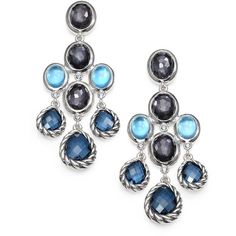 David Yurman Semi-Precious Multi-Stone & Sterling Silver Chandelier Earrings/Blues ($1,950) found on Polyvore