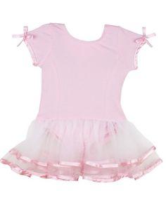 RuffleButts Short Sleeve Pink & White Tutu Leotard | www.RuffleButts.com