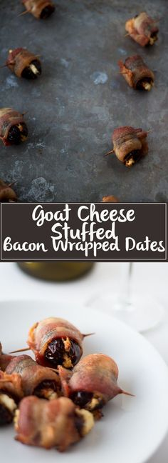 Goat Cheese Stuffed Bacon Wrapped Dates - these are so easy, only take 3 ingredients and are wildly addictive! They will dissapear before you know it. Easy Appetizer Recipes, Yummy Appetizers, Snack Recipes, Dessert Recipes, Cooking Recipes, Healthy Recipes, Snacks, Delicious Recipes, Party Recipes
