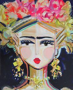 Frida Kahlo impresión en papel o lienzo por DevinePaintings en Etsy