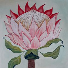 Protea on Canvas Social Media, Paintings, Canvas, Box, Tela, Snare Drum, Paint, Painting Art, Canvases