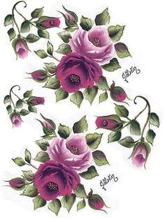 China Painting, Tole Painting, Fabric Painting, Decoupage Vintage, Vintage Diy, Vintage Flowers, Vintage Floral, One Stroke Painting, Botanical Flowers