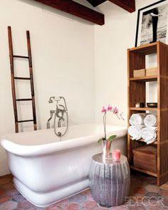 Or towel rack behind tub
