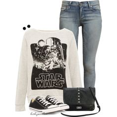 Happy Star Wars Day! by bitbyacullen on Polyvore featuring Pull&Bear, Paige Denim, Converse, Nine & Co and Givenchy