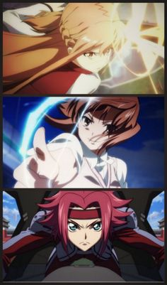 Yuuki Asuna (Sword Art Online) - top Misaka Mikoto (To Aru Kagaku no Railgun) - middle Kallen Kozuki (Code Geass) - bottom