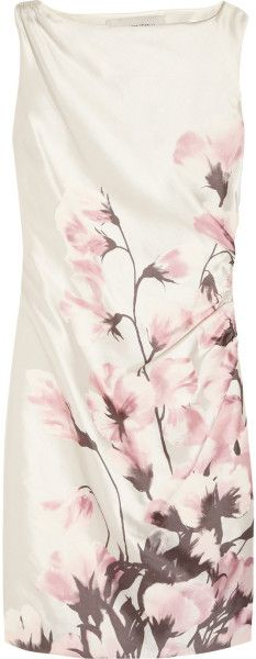 Valentino Floral Print Silk Twill Dress in Floral (white) - Lyst
