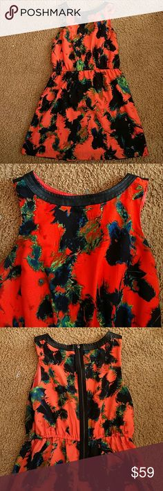 Kenzie Sun Dress Large EUC I love this dress but it doesn't fit me as it should any more...  It has a faux leather detail and a really fun mango green black and blue print. I will miss this one!!   Kenzie size large in EUC kenzie Dresses Midi