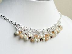 Beaded chainmaille necklace cluster charm by handmadeintoronto, $65.00