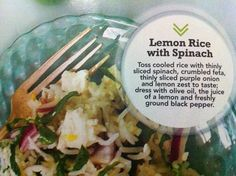 My favorite spinach rice salad Spinach Rice, Lemon Rice, Rice Salad, Feta, Onion, Vegetables, Onions, Vegetable Recipes, Veggies