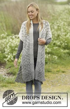 Crochet DROPS jacket with lace