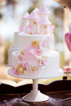 Gorgeous cake at a Vintage Pink and White with lace Birthday Party!  See more party planning ideas at CatchMyParty.com!