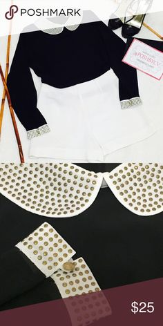 Gorgeous Peter Pan Blouse Amazing details ! Studded Peter Pan Collar & cuffs ! Gold buttons ! Forever 21 Tops Blouses